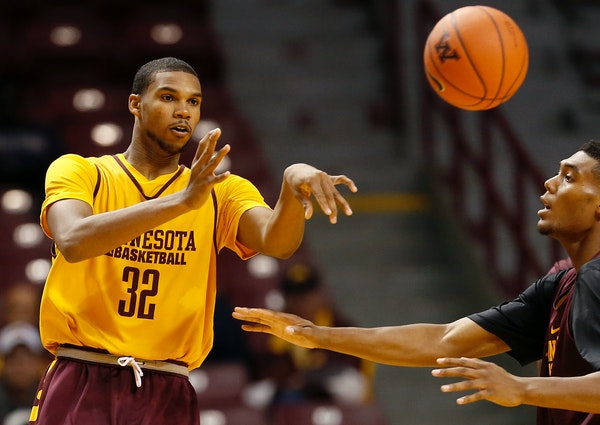 """Gophers freshman wing Ahmad Gilbert will be out """"probably three to four weeks"""" with a dislocated finger on his left hand, according to coach Richa"""