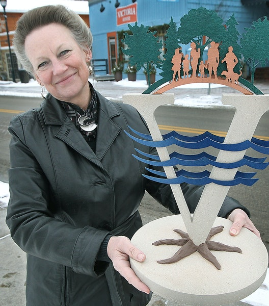 Artist Deb Zeller displayed a model of the sculpture she created for downtown Victoria.