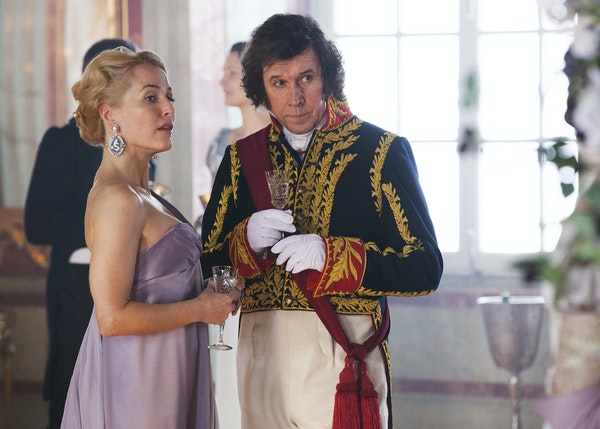 """The cast of """"War and Peace"""" includes Gillian Anderson as Anna Pavlovna Scherer and Stephen Rea as Prince Vassily Kuragin."""