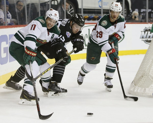 Zach Parise, left, and Jason Pominville, right, are part of a top line that is struggling to score.