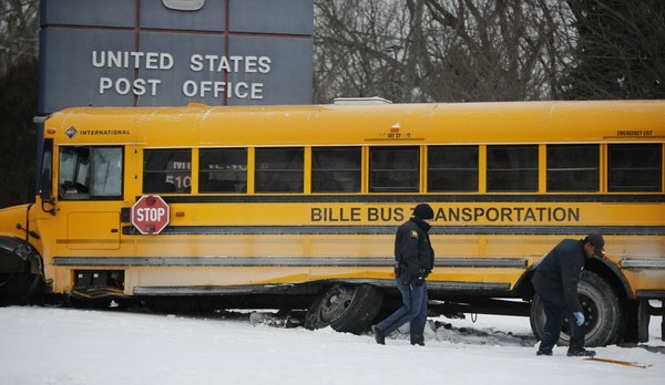 At the corner of Minnehaha Ave E. and Birmingham in St. Paul, a school bus nearly crashed into a post office Monday morning. A couple children were ta