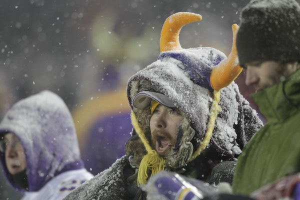Dec., 2010: Vikings fans at TCF stadium dressed for the cold and snow for the Vikings' game against the Chicago Bears.