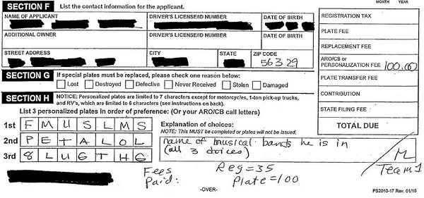 The application for a personalized license plate shows the three options the vehicle owner listed, and the explanation. This is a portion of the docum