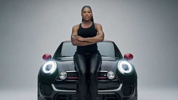 """This image provided by Mini USA shows a still from the company's Super Bowl 50 """"Defy Labels"""" ad spot featuring tennis star Serena Williams. Williams i"""