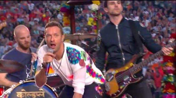 Coldplay, Beyonce, Mars play Super Bowl halftime