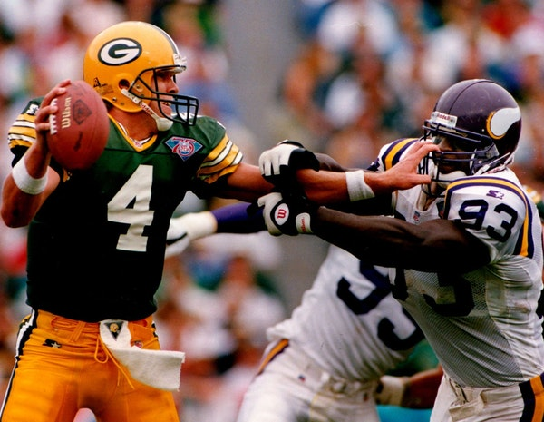 The Vikings-Packers rivalry, mostly dormant for two decades, heated up again when Brett Favre joined Green Bay in 1992. Here, he grabbed hold of John