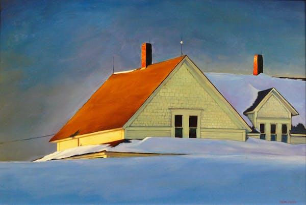 "Tom Foty's ""Deep Snow"" recalls Edward Hopper."