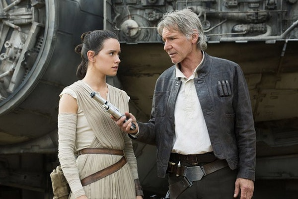 """Daisy Ridley and Harrison Ford star in """"Star Wars: The Force Awakens."""""""