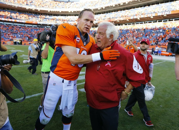 Broncos quarterback Peyton Manning greeted Cardinals assistant head coach Tom Moore after their teams met in October 2014. If their games break right,