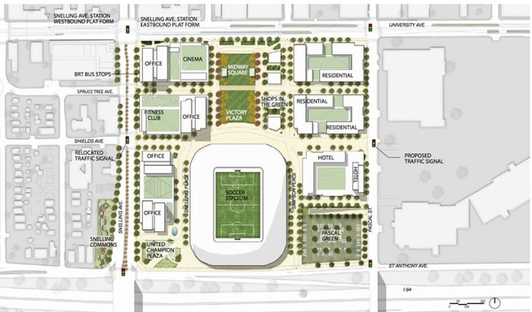"""A rendering of the """"urban village"""" plan envisioned to surround the Minnesota United soccer stadium planned for the Midway area of St. Paul."""