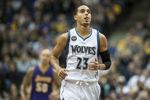Minnesota Timberwolves guard Kevin Martin (23) reacted after hitting a 3-point shot in the fourth quarter against the Los Angeles Lakers.