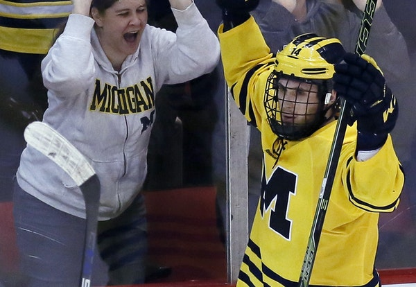 Michigan's Tyler Motte has had plenty of chances this season to celebrate a goal — a nation's-best 28 to be exact. He has at least one goal in t