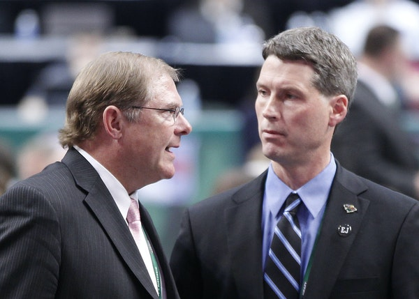 Wild owner Craig Leipold, left, and General Manager Chuck Fletcher