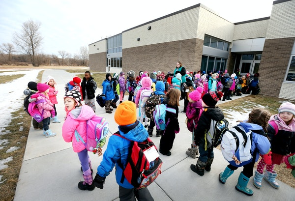 Kindergartners lined up outside Wilson Elementary School in Anoka, which took on extra kindergartners because of an overflow at Ramsey Elementary.