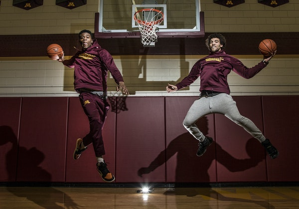 Gophers transfers Davonte Fitzgerald, left, and Reggie Lynch aren't able to help this season, but they're working to become difference-makers next