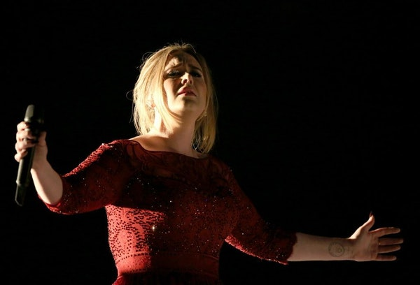 Adele performs at the 58th annual Grammy Awards on Monday, Feb. 15, 2016, in Los Angeles.