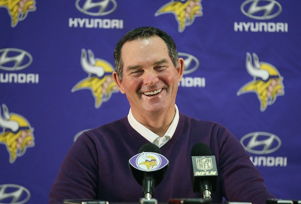 Minnesota Vikings Head Coach Mike Zimmer was happy to give his season ending press conference at the Winter Park Fieldhouse , Tuesday, January 12, 201