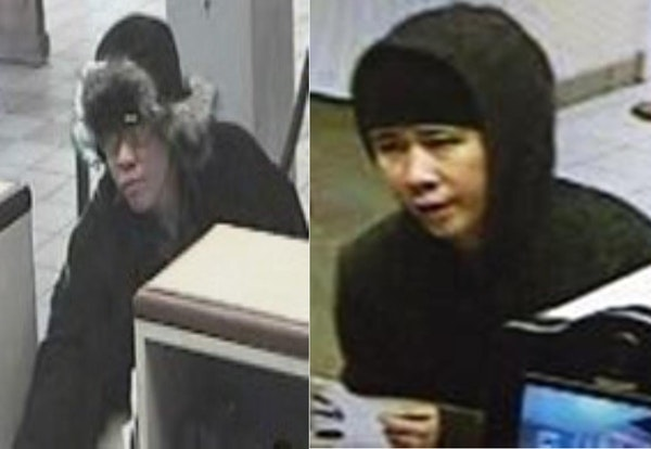 The FBI released two surveillance photos of a man they suspect in several recent St. Paul bank robberies.