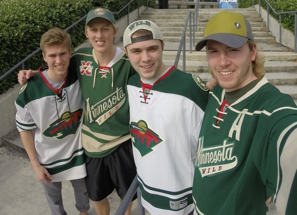 Road-trippers, from left, Zach Holloway, Brooks Nelson, Kayle Hanson and Cole Grandgenett took a selfie in front of the BB&T Center in Sunrise, Fla.,