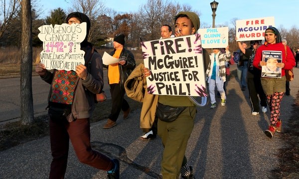 A group of Native Lives Matter protesters marched from Indian Mounds Park in St. Paul on Saturday.