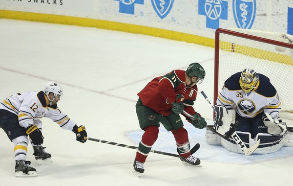 Buffalo Sabres goalie Linus Ullmark made a late third period save on a shot by Wild left wing Zach Parise earlier this month during a 3-2 loss to the