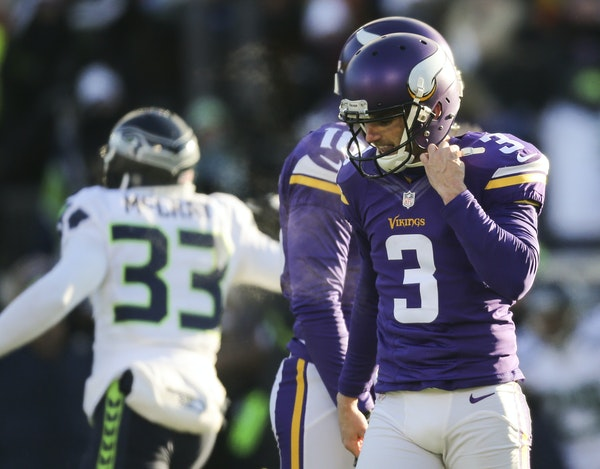 Vikings kicker Blair Walsh walked away after his chance for a game-winning 27 yard field goal sailed wide left at the end of the fourth quarter and th