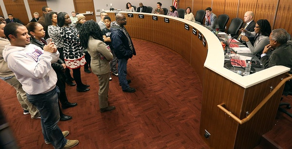 Protesters faced off with the Minneapolis school board on Tuesday, the latest sign of a year of discord.