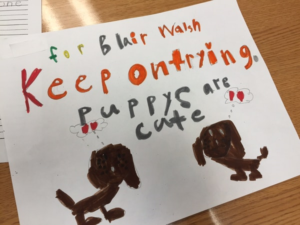 One of the letters sent by Judie Offerdahl's first-grade class at Northpoint Elementary to Vikings kicker Blair Walsh.