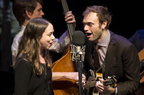 """Vocalist Sarah Jarosz sang with """"A Prairie Home Companion"""" host Chris Thile and the Punch Brothers during Saturday night's show at the Fitzgerald thea"""
