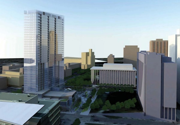A new rendering shows a glassier building planned by United Properties for redevelopment of the Nicollet Hotel block. This view is from the south with