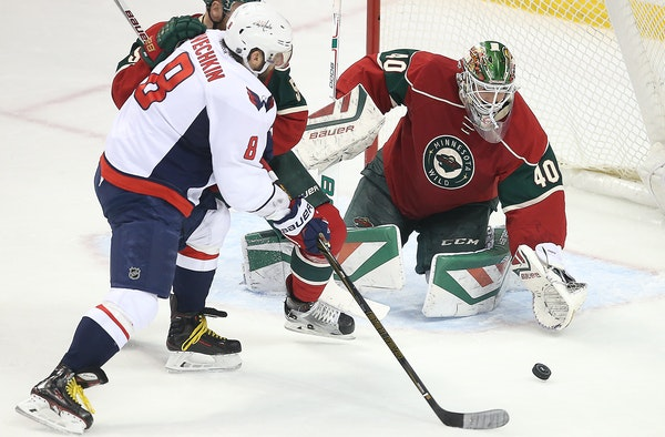 Wild goalie Devan Dubnyk gave up a goal to Capitals left wing Alex Ovechkin on Thursday, one of three goals for the Washington star -- all coming in t
