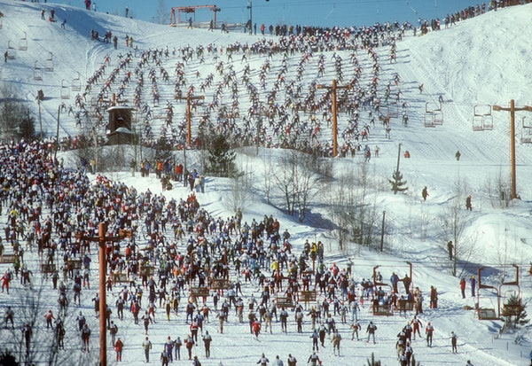 Thousands of cross country skiers climbed Mount Telemark at the start of the 1979 American Birkebeiner.