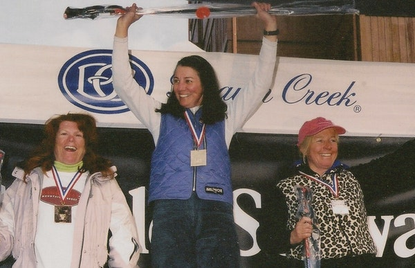 Chrissy Lindstrom, center, of Minnetonka won a National Standard Race (NASTAR) at age 50. NASTAR is known in skiing circles as a worldwide race progra