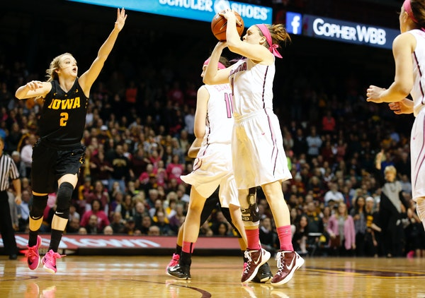 Gophers senior guard Rachel Banham drilled a three-pointer just before the final horn, lifting Minnesota over Iowa 78-76 at Williams Arena on Monday n