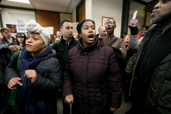 Jamar Clark supporters rallied in Hennepin County Attorney Mike Freeman's office earlier this month.