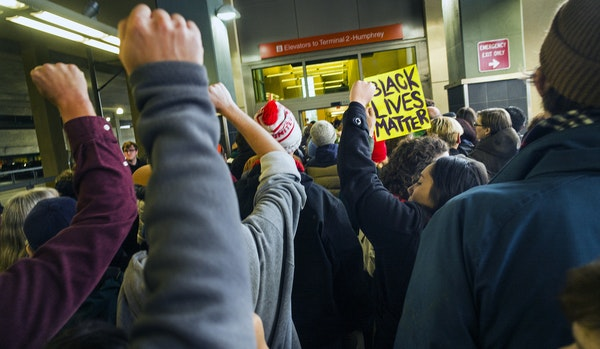 Black Lives Matter protesters made their way from the Mall of America to Terminal 2 of the airport via light rail earlier in the month.