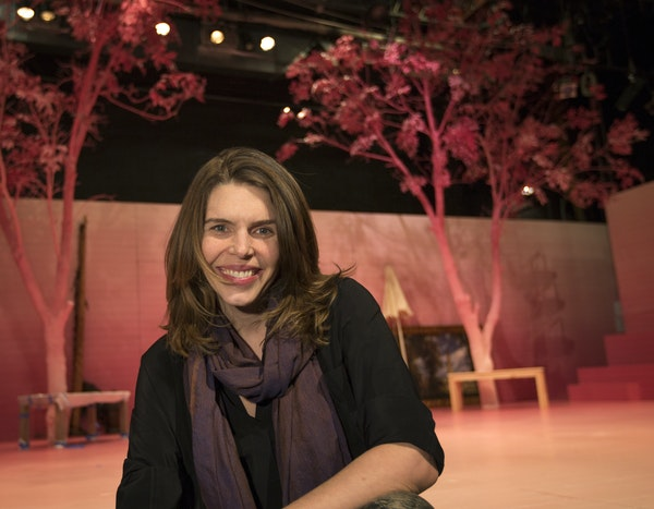 """Jungle Theater's new artistic director Sarah Rasmussen on the set of """"Two Gentlemen of Verona,"""" which opens her first season Friday night."""
