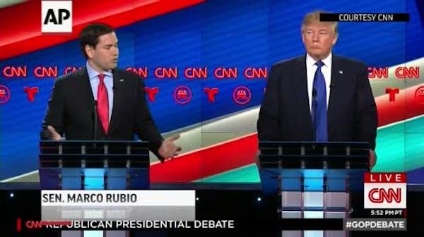 Rubio, Cruz take on Trump in fiery debate brawl