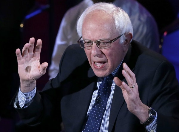 Democratic presidential candidate, Sen. Bernie Sanders, I-Vt, argues a point during the Brown & Black Forum, Monday, Jan. 11, 2016, in Des Moines, Iow