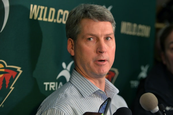 Wild General Manager Chuck Fletcher spoke to the press Sunday at Braemer Arena in Edina, the morning after firing coach Mike Yeo. John Torchetti has b