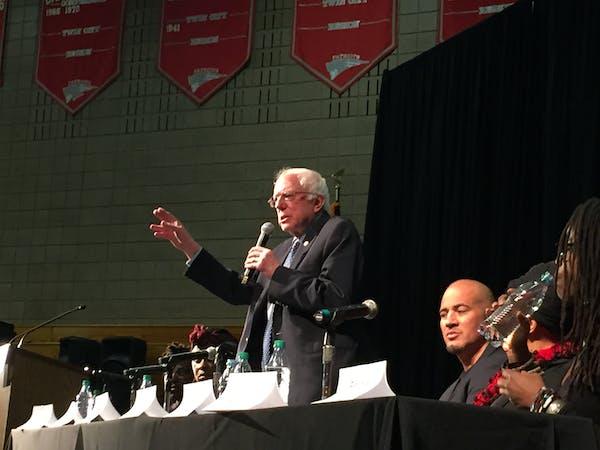 Sen. Bernie Sanders at Friday's forum at Patrick Henry High School.