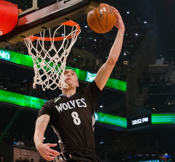 Wolves guard Zach LaVine won last year's All-Star slam dunk contest as a 19-year-old rookie.