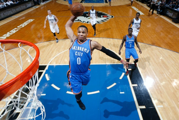 Russell Westbrook (0) of the Oklahoma City Thunder dunked the ball in the first half. Oklahoma City beat Minnesota by a final score of 138-113. Westbr