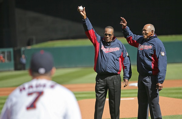 Hall of Famer Rod Carew and Twins Hall of Famer Tony Oliva greeted the crowd before Carew threw out the first pitch at Target Field before the Twins t