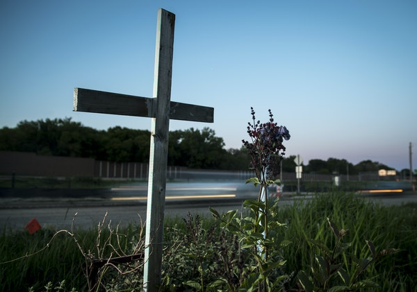 Memorials along roads remember some of the 95 pedestrians killed between 2010 and 2014 in the metro area.