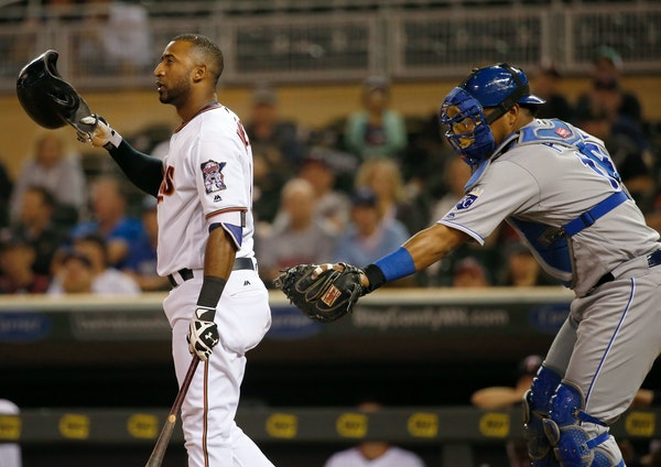 Royals catcher Salvador Perez tagged the Twins' Eduardo Nunez after Nunez struck out swinging in the fourth inning of Kansas City's 10-4 victory over