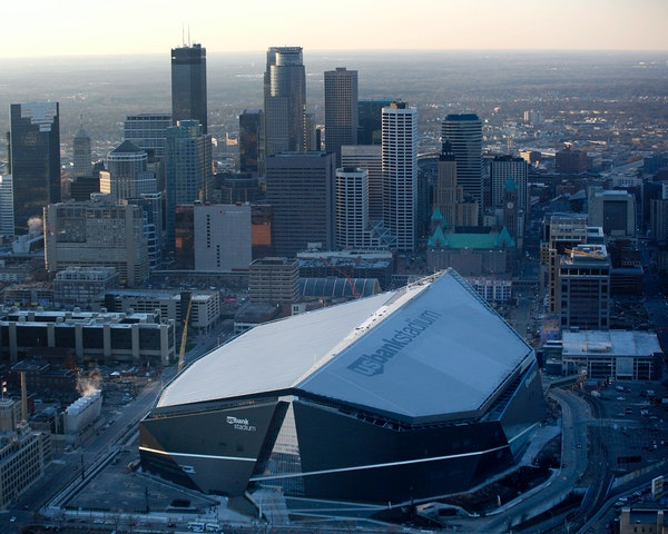 Nearly completed U.S. Bank Stadium takes shape in downtown Minneapolis.