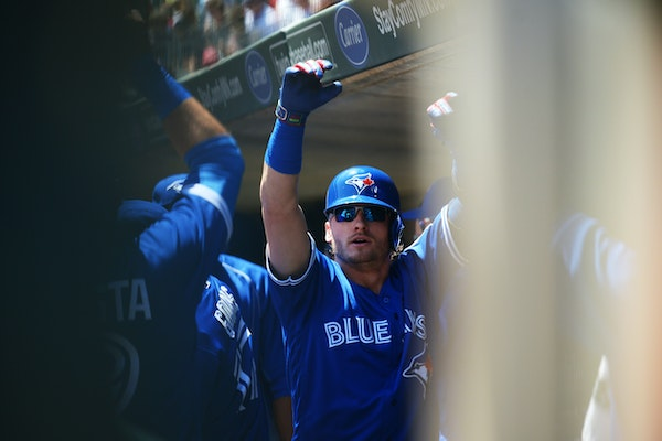 Blue Jays infielder Josh Donaldson celebrated after hitting a home run in the first inning of Toronto's 3-1 victory over the Twins at Target Field on