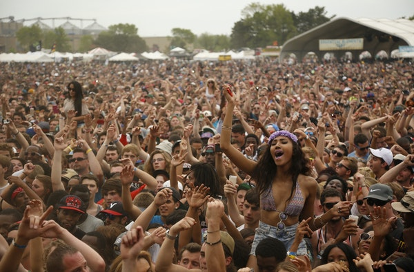 The crowd cheers at Soundset in 2014.
