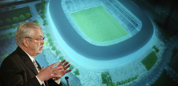 William McGuire, owner of the Minnesota United FC, showed renderings of the new soccer stadium at a news conference in February in St. Paul.